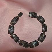 Abalone on the Curve Taxco Silver Bracelet - Free shipping