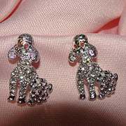 Pair of Poodle Puppies Pins - Free shipping