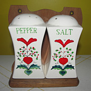 Salt and Pepper Shakers on Wood Wall Rack - b128