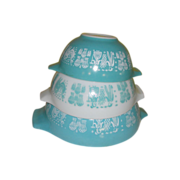 Pyrex Three out of Four Amish Butterprint Cinderella Bowls - g