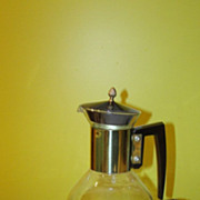 Mid-century Coffee Carafe on Wood Warmer Stand - G