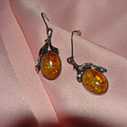 Silver Leaves and Amber J-hook Earrings - Free shipping