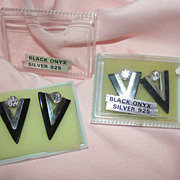 V is for ... Black Onyx and Silver Post Earrings - Free Shipping