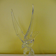 Murano Bird on Waves BR-83 Clear Glass Sculpture