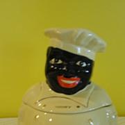 SALE Pearl China Black Americana ''Cooky'' Chef Cookie Jar - b141