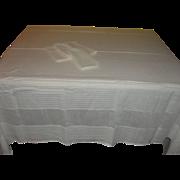 White Woven Stripe Tablecloth and Napkins - b137