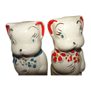 Bears with Flowers American Bisque Salt and Pepper Shakers