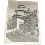 Hindu Temple at Patan Photogravure from Oil Painting by W. Dodge