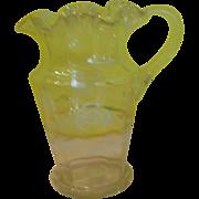 Ruffled Rim Victorian Glass Pitcher - b137