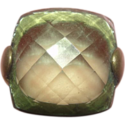 Facet-nated Green Stone Ring Size 8 - Free shipping