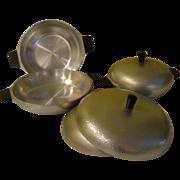 SOLD Mid-Century Modern Hammered Club Aluminum 6 piece Cookware Set - G