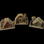 Tiny Snow Village Houses - b145
