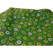 Madly Mod Flowers on Green Fabric - L2
