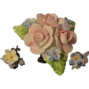 Coalport Pink Rose Pin and Pierced Earrings - Free shipping