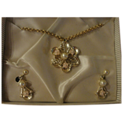 Tiny Pink Flowers and Faux Pearls Necklace and Clip-on earrings - Free shipping