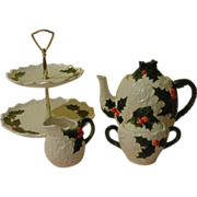 Tea and Cookies for Santa Lefton White Holly tea Pot, Creamer, Sugar Bowl and 2 ...