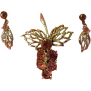 Pink Cluster Pin and Clip-on Earrings - Free shipping
