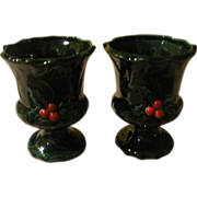 Lefton green holly Footed Cup - b156