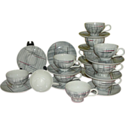 Mid-century Prim Rose China Gray Background 9 1/2'' Cups and Saucers - b159