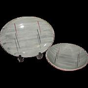 Mid-century Prim Rose China Gray Background Platter and Veggie Bowl - b159