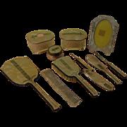 Marvelous mauve 11 piece Celluloid Dresser/vanity set - b164