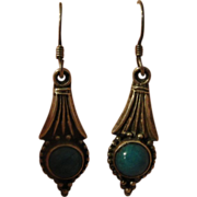 Turquoise and Silver J-hook earrings - Free shipping