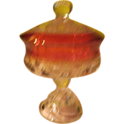 Kings Crown ''Thumbprint'' Ruby Flashed Compote with Lid - b56