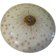 SOLD Atomic Starburst Mid-century Flying Saucer Glass Ceiling Shade - g