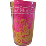 """Welch's """"Here Comes Music for Doodyville Circus'' Swanky swig Glass - b58"""