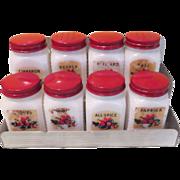 Red Lid Spice Jars on Aluminum Rack - b60