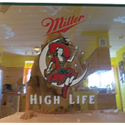 Miller Girl in the Moon Miller High Life Beer Mirror