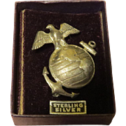 USMC WWII Eagle Globe and Anchor Sterling Silver Pin - Free shipping