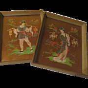 Pastels on Gold Mei Mei Asian themed Paintings - b62