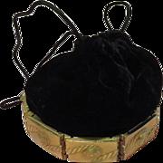 Black Velvet Drawstring Handbag/purse with Gold Tone Base - b62