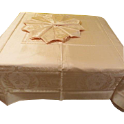 Extra Long Palest Pink Damask Tablecloth and Napkins - L7