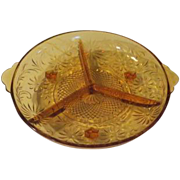 Daisy Indiana Glass 3-part Amber Glass Relish Dish - b61