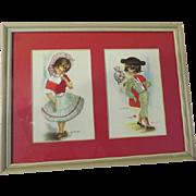 Embroidered Gallarda Postcards Matador and Senorita  Matted and Framed - b175