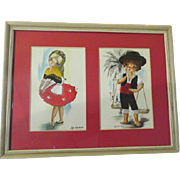 Embroidered Gallada Postcards Gondolier and Mia Amore Matted in Frame - b175