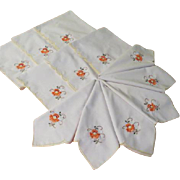 Scalloped and Flower Embroidered Napkins - b65