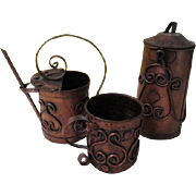 Instant Copper Collection - Watering Can, Canister and Tankard - b172