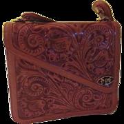 Mexican Tooled Leather Handbag/purse - b177