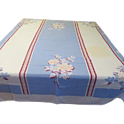 Blue with Beige Floral Tablecloth - b177