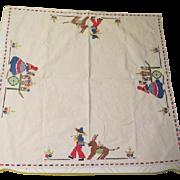 Embroidered Senors and Senoritas Tablecloth