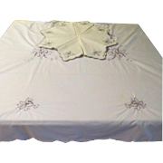Iris Embroidered Cutwork Madiera Tablecloth and Napkins - b174