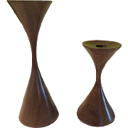 SOLD Mid-Century Teak Hourglass Candle holders - b178