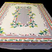 Cotton Balls 50's Print Gray and Green Tablecloth - b121