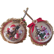 Santa kissing Mrs Clause and Christmas Train Ornaments - b177