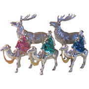 SOLD Silvered Wisemen and Reindeer - b51