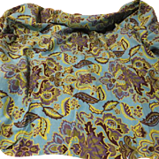 Blue Green Paisley and Flower Print Fabric - b181