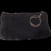 Black Crocheted Handbag with Lucite Wrist Ring Zipper Pull - b183